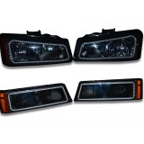 Chevy Silverado (2003-2006) Parking and Headlight Housings with Flashtech V.3 Fusion Color Change Halos Installed