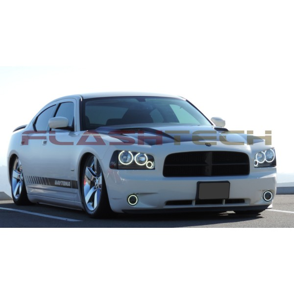 dodge charger white 6 ring led halo headlight kit 2005 2010. Black Bedroom Furniture Sets. Home Design Ideas