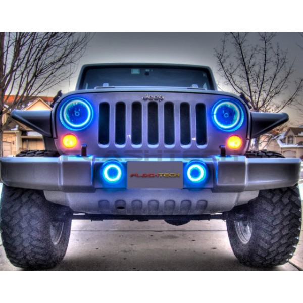 flashtech jeep wrangler v 3 fusion color change led halo headlight kit. Cars Review. Best American Auto & Cars Review