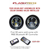 """Flashtech 7020 7""""  LED Headlight Assemblies: 7"""" Round with Fusion Color Changing halos Installed"""