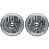 "7"" Round LED Headlight Assemblies with White Halos Installed (Pair)"