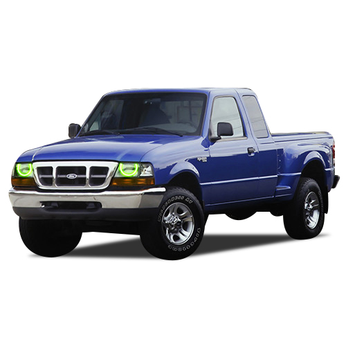 98 Ford Ranger Headlamp : Rgb multi color led halo ring headlight kit for ford